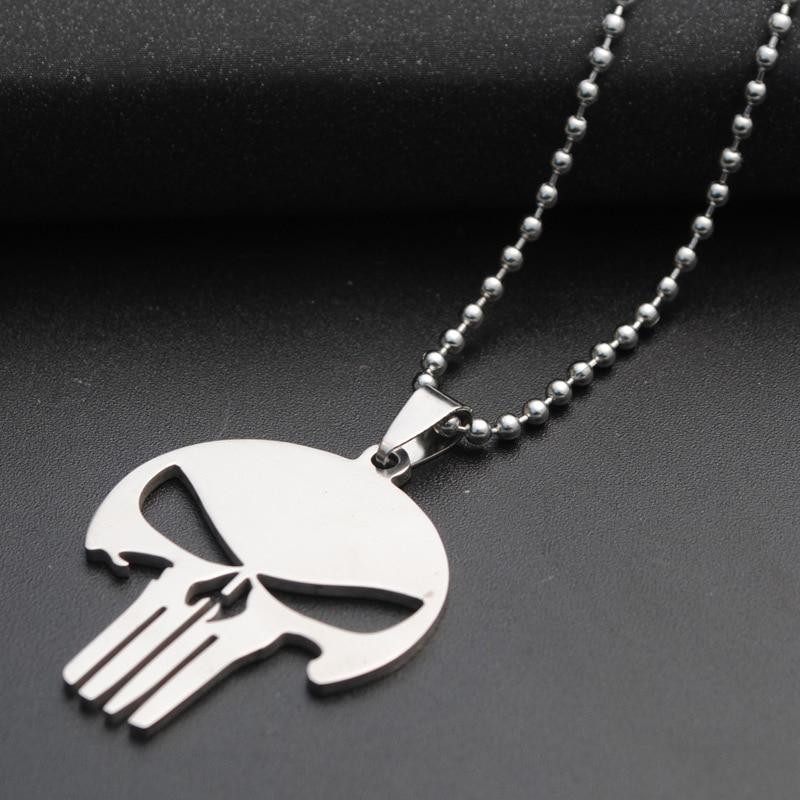 2 Marvel Hero The Punisher Skull Stainless Steel Necklace Pendant Charm USA Ship