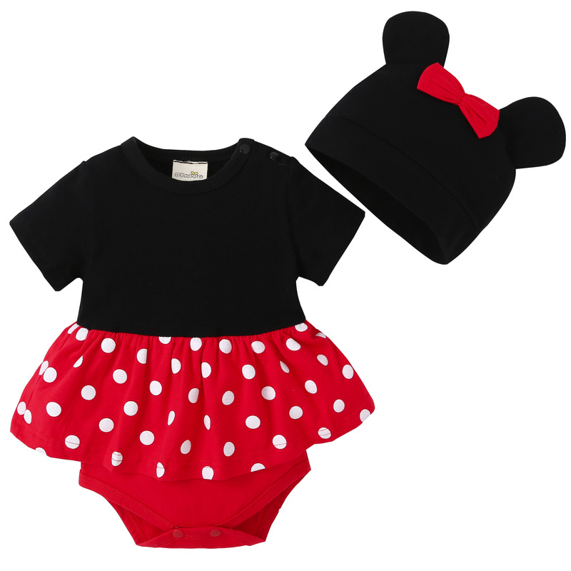 2018 New lovely Bodysuits For Baby boys Girls short Sleeve Body Infant Bebe Minnie Micky hat 2pcs/sets Brand Clothing
