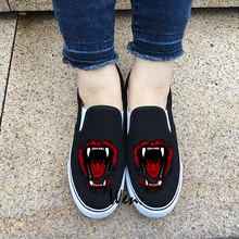 Wen Original Design Wild Beast Big Mouth Bite Things Slip On Black Canvas Unisex Sneakers White Adult Boy Girl Flat Shoes