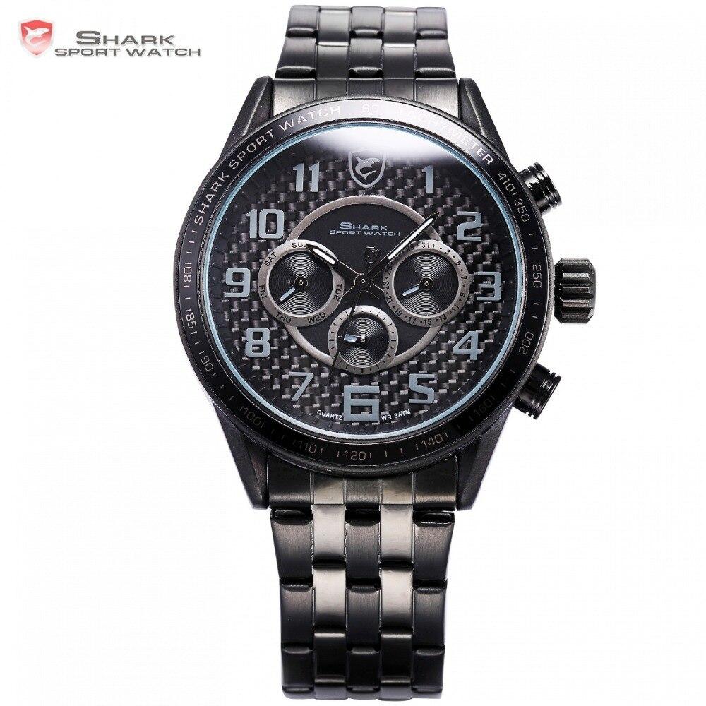 Blackspot Shark Sport Watch Black Auto Date Calendar Steel Band Military Reloj Hombre Men Male Quartz