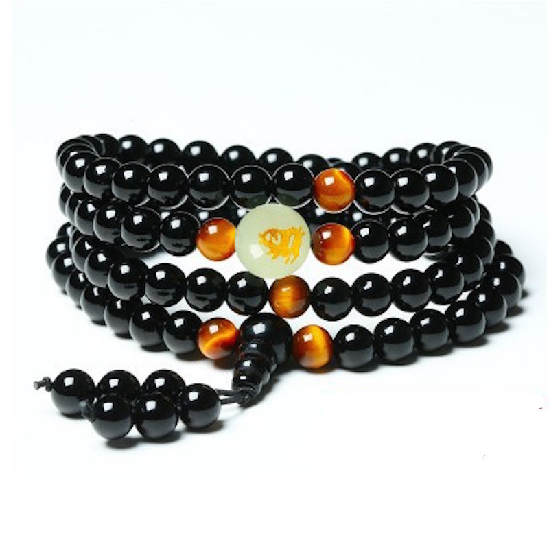 Onyx and Tiger's Eye Mala 3