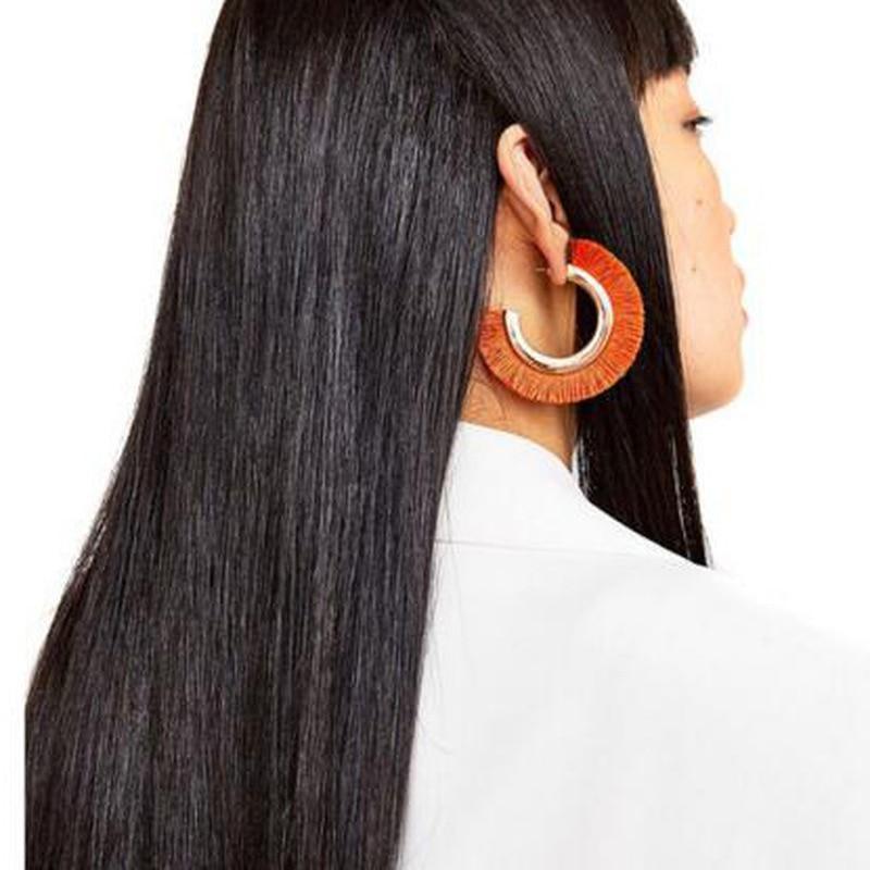 Cotton Tassel Earrings Bohemia Alloy Big Stud Earrings C shape For Women Statement Fringe Earrings Geometric Jewelry