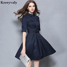 OL стильное темно-синее офисное платье Vestidos Verano осеннее винтажное платье Dashiki уникальное платье Dames Kleding 72278