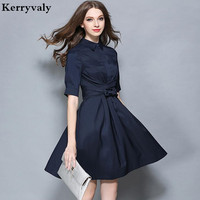 OL Style Dark Blue Work Office Dress Vestidos Verano 2016 Autumn Vestido Vintage Dashiki Dress Tunique