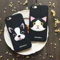 3d creativo francés bull dog cat case cubierta del teléfono de silicona suave para el iphone 6,6 s, 6 plus, 6 splus, 7,7 más de goma protectora case coque