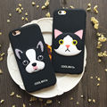 3d criativo francês bull dog cat silicone suave phone case capa para iphone 6,6 s, 6 plus, 6 splus, 7,7 plus protective rubber case coque