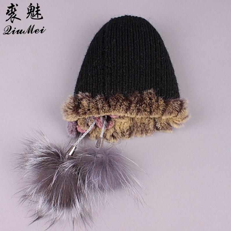 21ef6693da6 Aliexpress.com   Buy Winter Fur Hats Knitted Rex Rabbit Fur Fluffy Ball  Design Hat Girls Casual Warm Lovely Caps Beanies Women New Russian Hat 2018  from ...
