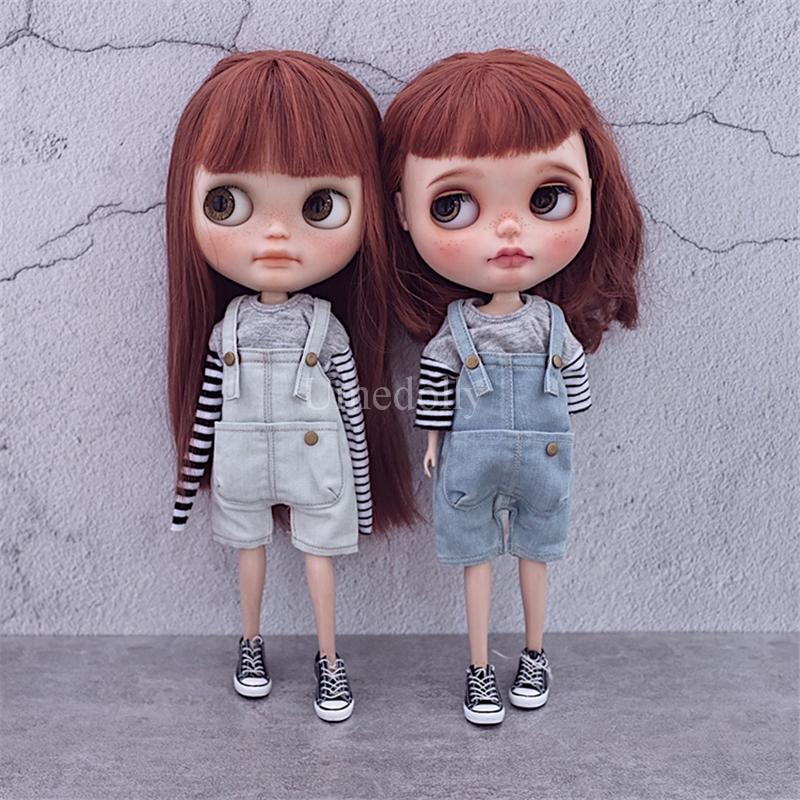 1PCS High Quality 1 6 BJD YOSD Denim Suspender Overalls for Blyth Azone Licca Pullip Doll