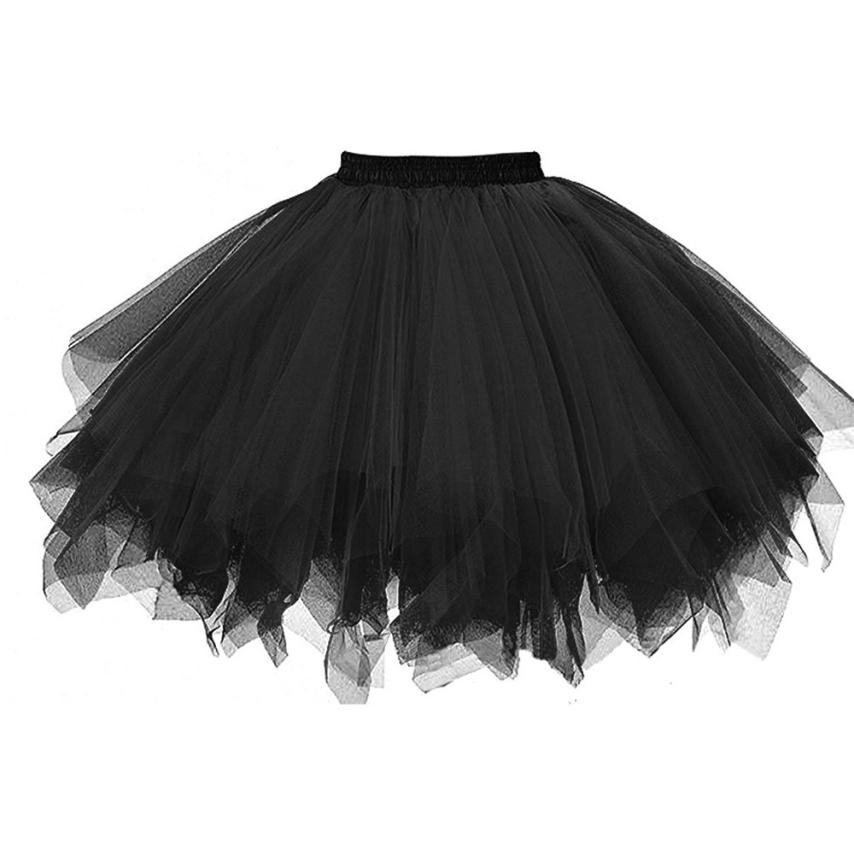 Women Skirts Ball Gown Solid Skirt Dancing Mini Tulle Skirt Girls Tutu Ballet Clothes Black Pink 18Mar23