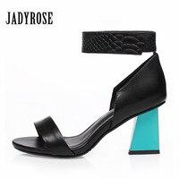Jady Rose Summer Gladiator Sandals Women 7CM High Heels Sandalias Mujer Fashion Strange Heel Ankle Strap