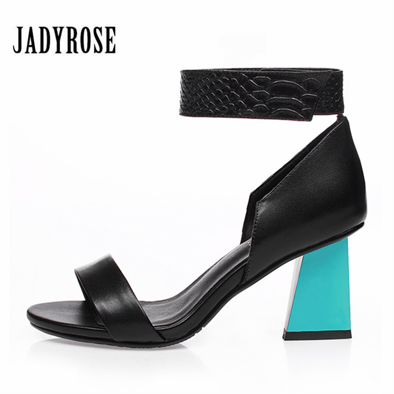 Jady Rose Summer Gladiator Sandals Women 7CM High Heels Sandalias Mujer Fashion Strange Heel Ankle Strap Dress Shoes Woman