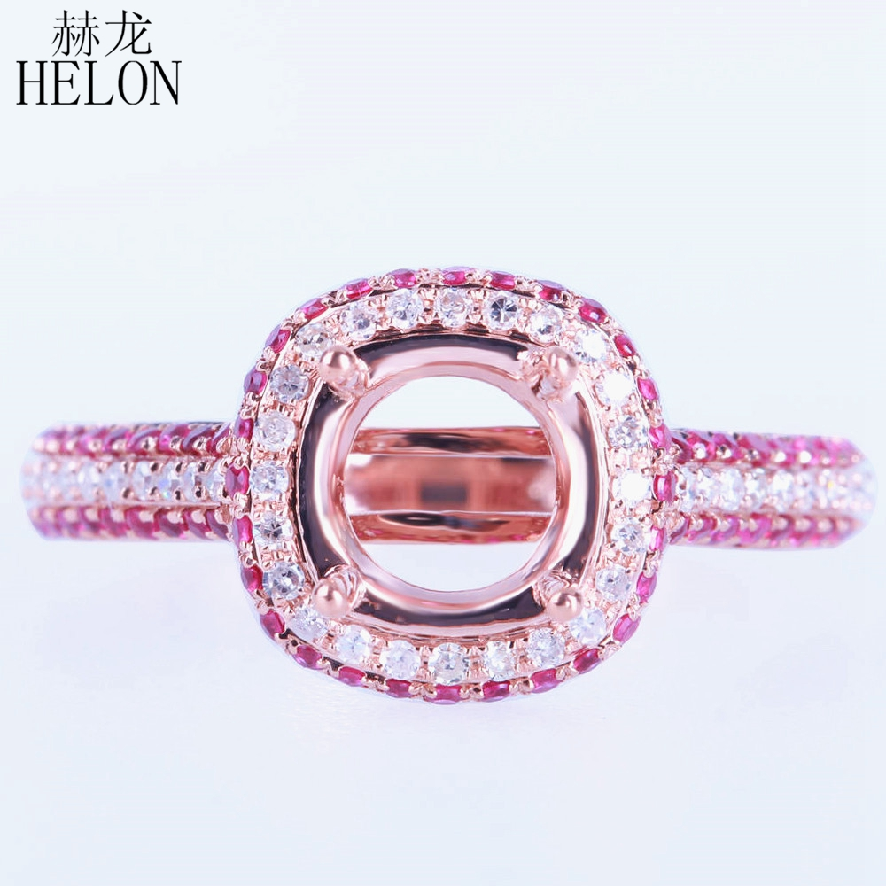 HELON 10x8mm Emerald Cut Semi Mount Pave Natural Diamond Ring ...
