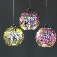 Nordic loft 3D glass etching lampshade pendant lamp Creative single head LED pendant lights For restaurant bar Hotel Office