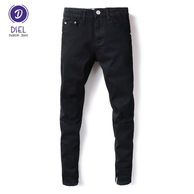 5d53687a28a Fashion Streetwear Mens Jeans Knee Hole Black Color Elastic Stretch Denim  Skinny Ripped Jeans Men DSEL Brand Ankle Zipper Jeans