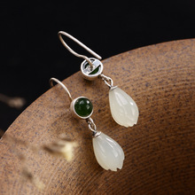 Brinco Real Jasper Skeleton Anniversary 2018 New S925 Pure Antique Inlaid And Jade Lady High Grade Jaunt Earrings Wholesale