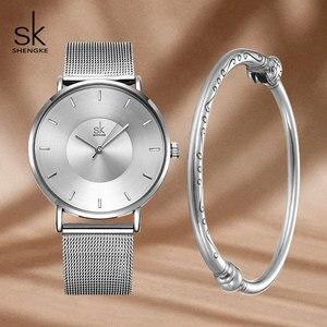 Image 2 - Shengke Fashion Silver Steel Women Watch Set with Box Luxury Bracelet Watches Wrist Watches Set Xmas Gift Watch for Women