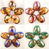 5 Pieces Lot 5kinds Of Rainbow Sea Sediment Jaspers Pyrites Gold Copper Bornite Stone Oval