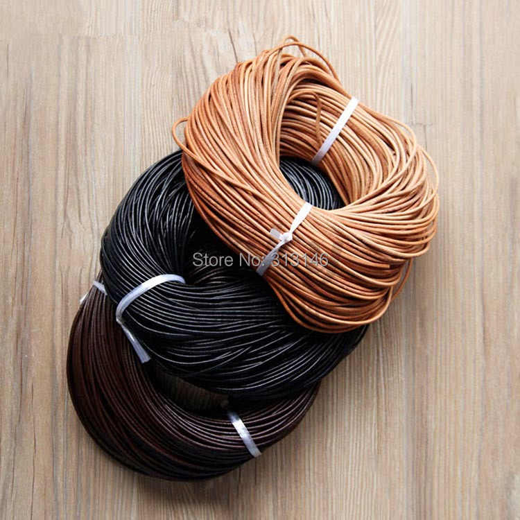 100% Genuine Leather Round Thong Cord Leather Cord String Rope for DIY Necklace Bracelet DIY Jewelry Making Dia 1/1.5/2/3/4/5mm