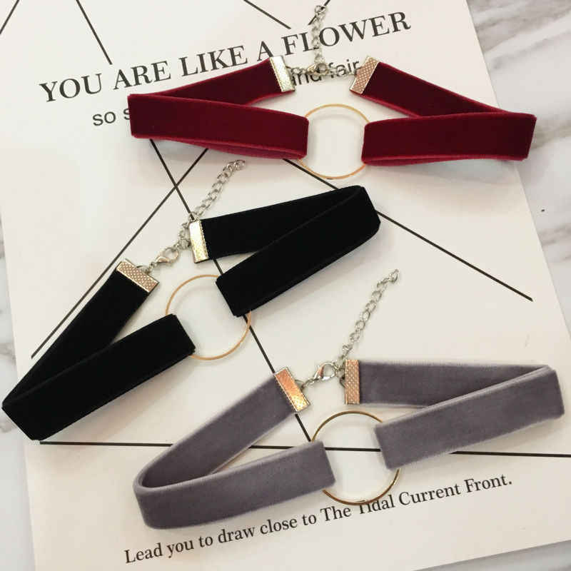 Black Velvet Choker Necklace For Women Geometric Circle Chocker Chokers Statement Necklaces Gothic collares Collier Bijoux Femme