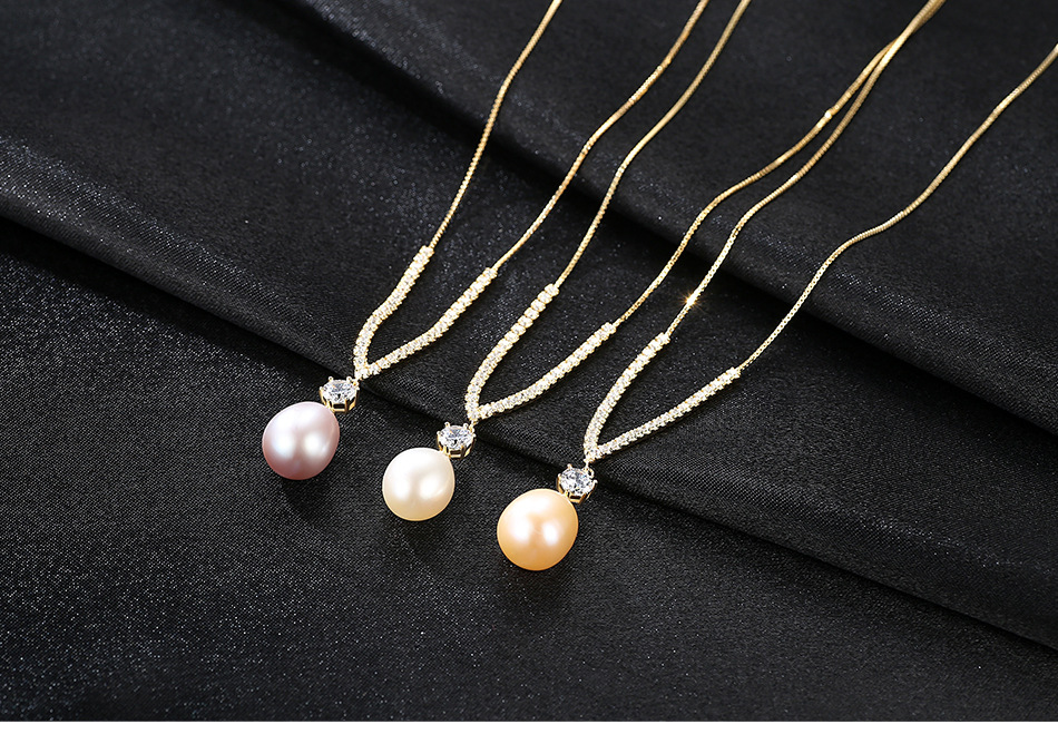 S925 sterling silver necklace micro inlaid zircon natural freshwater pearl jewelry LBP01