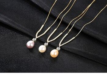 4e98717642fe YIKALAISI 2017 100% perla Natural de agua dulce collar largo 8-9mm perla  Real de la joyería de la plata esterlina 925 para mujeres mejores Regalos