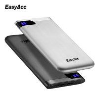 Easyacc 10000 Mah Power Bank Portable 2 Ports Ultra Thin Polymer LCD Dual Output Type C