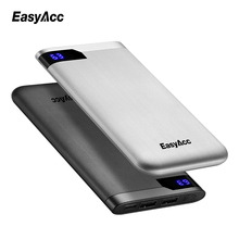 Easyacc 10000 mah Power Bank, Portable 2-Ports Ultra-thin Polymer LCD Dual Output Type-C 2.1A Charger External Battery 10000mah