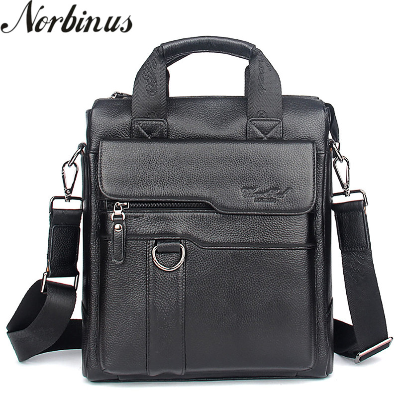 Norbinus Genuine Leather Men Messenger Bag Real Cowhide Fashion Crossbody Bag Cow Leather Business Handbags Tote