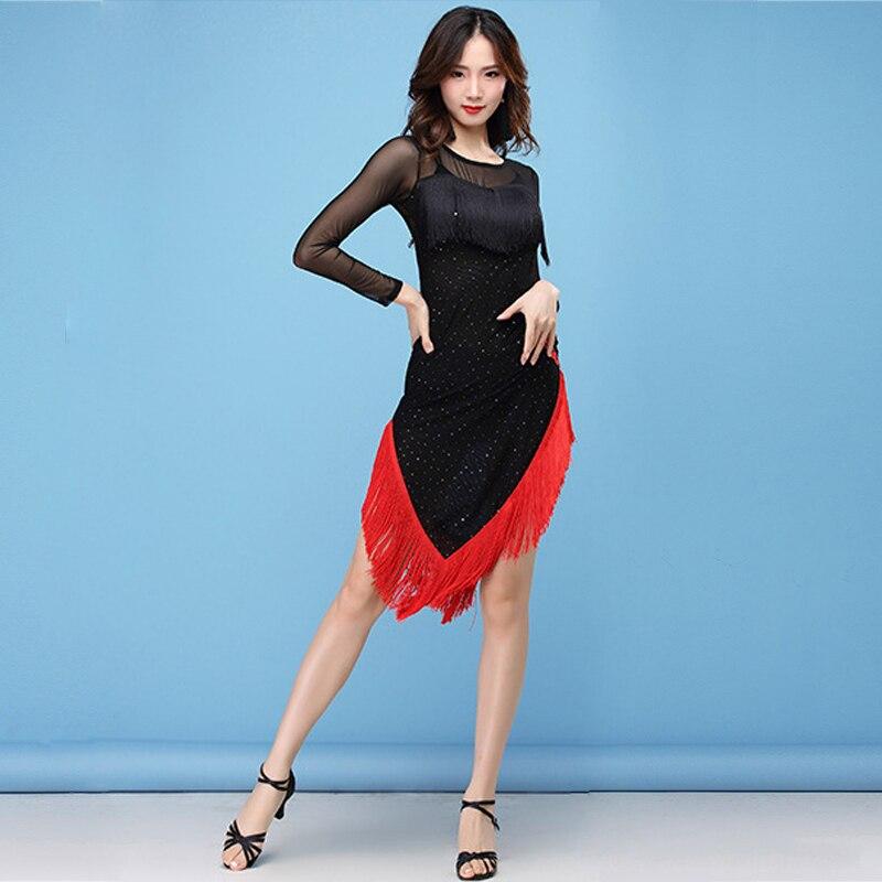2018 Women Dance Wear Ballroom Dress Samba Costume Sexy Party Dresses Sheer Mesh Stretchy One-piece Latin Dress Rose