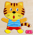 Wood cute cat duck three-dimensional jigsaw puzzle baby early lessons intelligence ordinary children's toys 1 pc