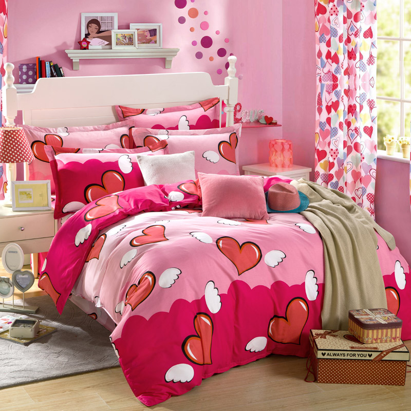 Cotton Bedspread Red Heart Printed Bedding Sets for Girls ...