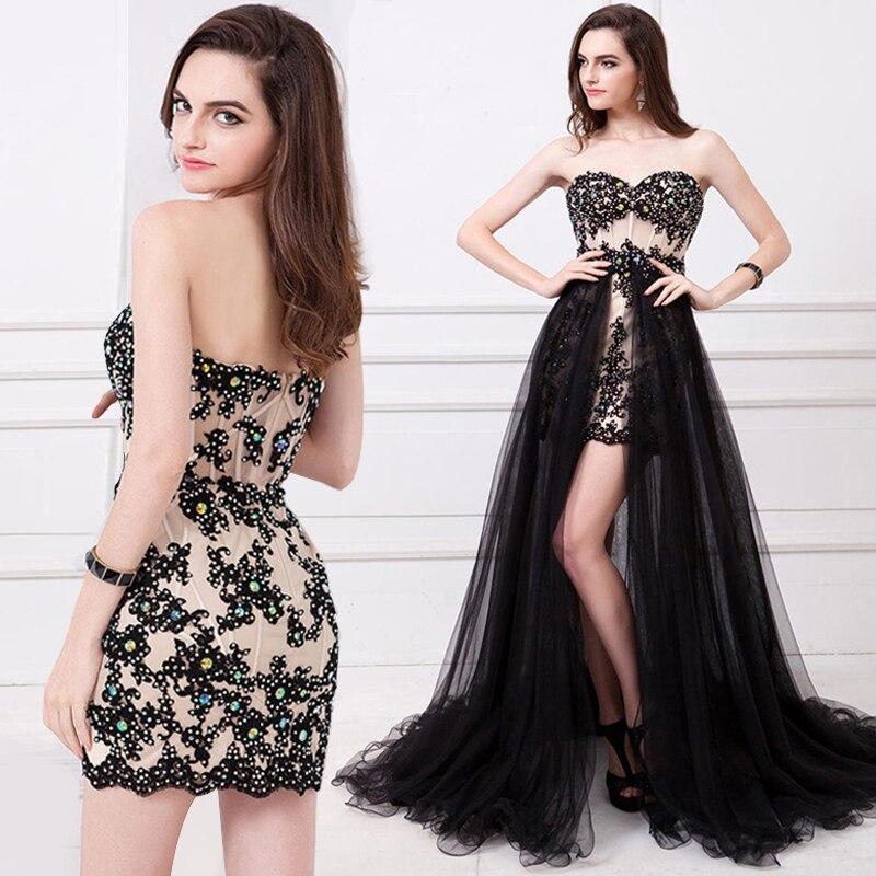 2019 1 Dans Soriee Nouveau De Party Robes Prom Soirée Noiva Amovible Robe Appliques Train Noir Princesse Dentelle Noire 2 rrOHnx6wqF