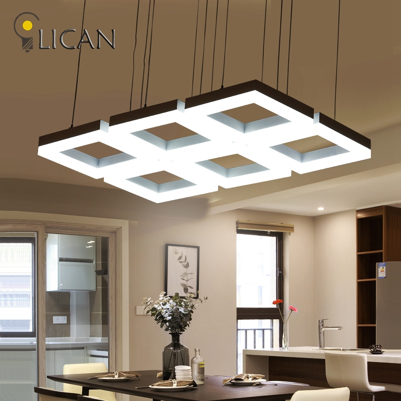где купить LICAN Rectangle Hanging Modern Led Pendant Lights For Dining Room Bar suspension luminaire suspendu Pendant Lamp Fixtures по лучшей цене
