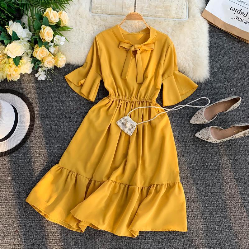 FTLZZ 2019 New Women Sweet Ruffle Dress Summer Flare Sleeve Bow Casual Ball Gown Midi Dress Vestidos 28