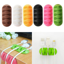 Hottest5-Clip TPR Earphone Cable Winder Organizer Charger Cable Protector Holder Cover Case Fixing Device