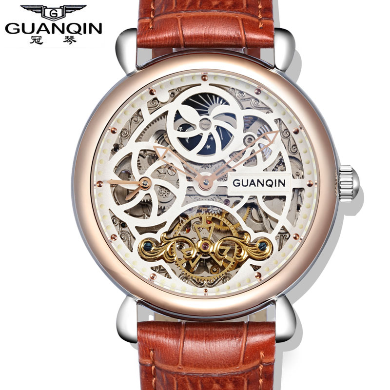 GUANQIN Top Brand Luxury Tourbillon Automatic Mechanical Watches Men Leather Hollow Waterproof Big Dial Military Skeleton Watch wrist switzerland automatic mechanical men watch waterproof mens watches top brand luxury sapphire military reloj hombre b6036
