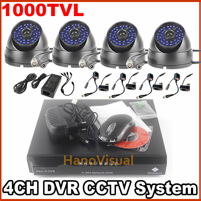 4CH CCTV Camera Kit 1000TVL Dome CCTV Camera Waterproof Indoor and Outdoor With IRCUT 4 Channel