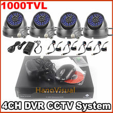4CH CCTV Digicam Package 1000TVL Dome CCTV Digicam Waterproof Indoor and Out of doors With IRCUT Four Channel DVR Video Recorder Surveillance