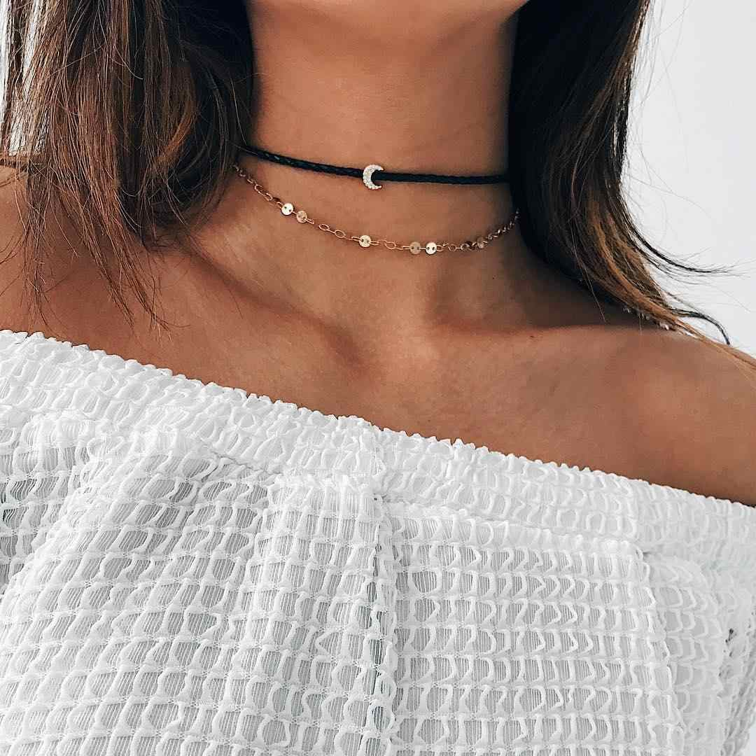 Moon Circles Choker Necklace for Women Long Moon Tassel Pendant Chain Necklaces & Pendants Velvet Chokers Fashion Jewelry