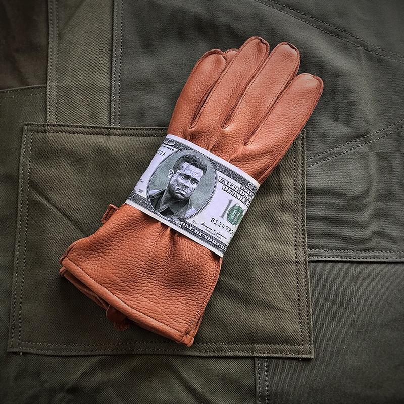 WW2 US Army Vintage Leather Gloves Deerskin Fetal Cowhide Motorcycle Biker Gloves Military Single-Layer Mittens