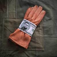 WW2 US Army Vintage Leder Handschuhe Hirschleder Fetal Rindsleder Motorrad Biker Handschuhe Armee Single-Schicht Fäustlinge