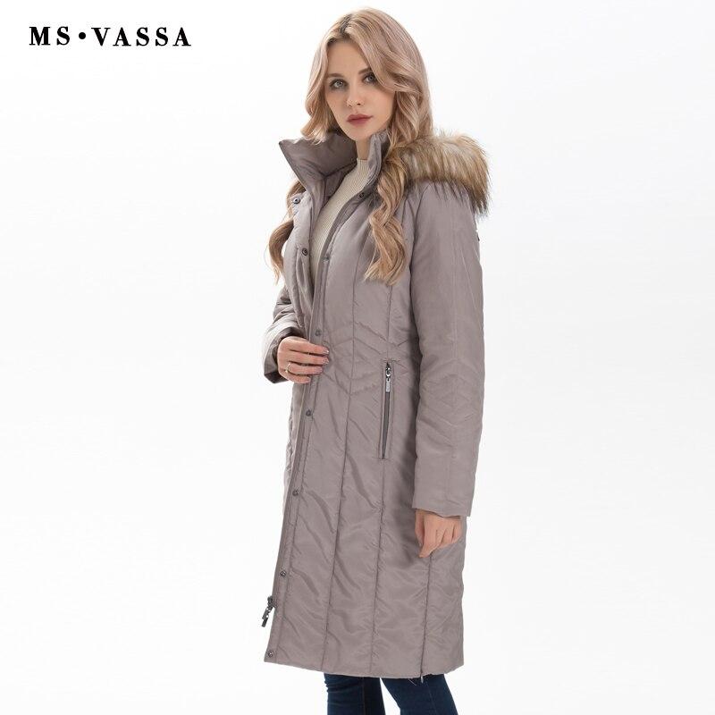 MS VASSA зимние парки Для женщин 2018 Новая мода осень женские длинные Куртки съемный капюшон с искусственного меха большие размеры 7XL верхняя од...