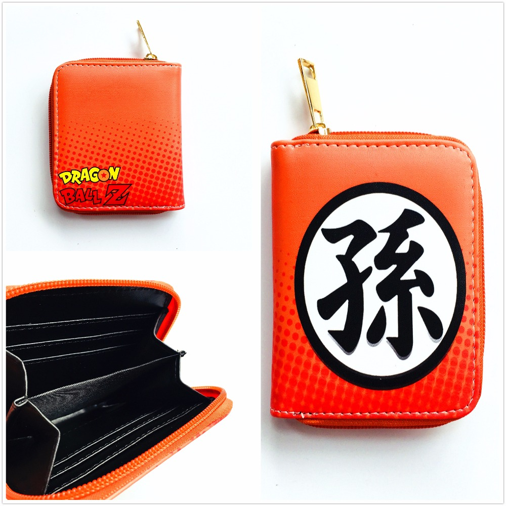 New anime Cartoon Dragon Ball Z wallet orange color purse cards holders short PU leather wallets with zipper coin bag W1051Y new fashion dragon ball z wallet japanese anime cartoon shenron wallet short pu leather wallet for men women w754