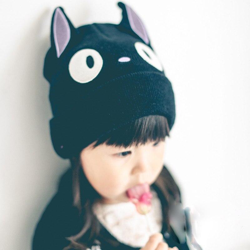 ᗔ2016 precioso gato Cara Beanie negro niños sombreros Cap bebé del ...