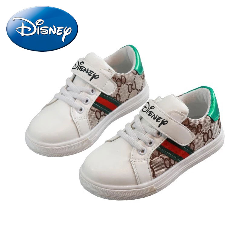 Disney Kids Shoes Spring Toddler Sneakers Flat Footwears Black While Leather Boy Girl Cute Kids 2019 New Fashion Trainers
