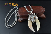 TOP COOL fashion PUNK gift efficacious Mascot Tibetan silver Necklace Wolf tooth Totem Faith safe Exorcise evil Pendant Amulet