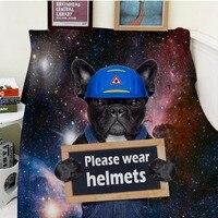 Blanket Plaid Warmth Soft Plush Easy Care Machine Wash Funny Cute Dog Coloful Galaxy Please Wear