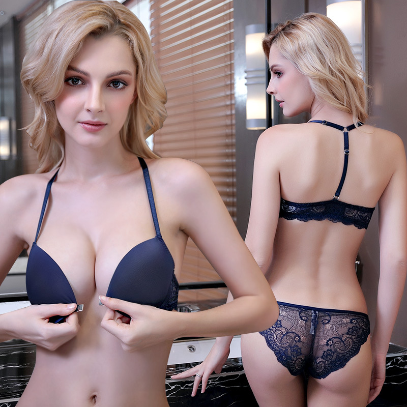 Sexy Mousse Bra And Briefs Sets Push Up Y-strap Front Closure Women Lingerie Lace Sexy Hot Young Girl See Through Panties New