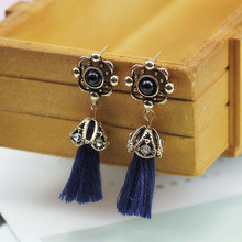 778af75f8723 E0243 moda azul real borla pendientes Vintage flor cuelgan los pendientes  para las Mujeres Partido joyería