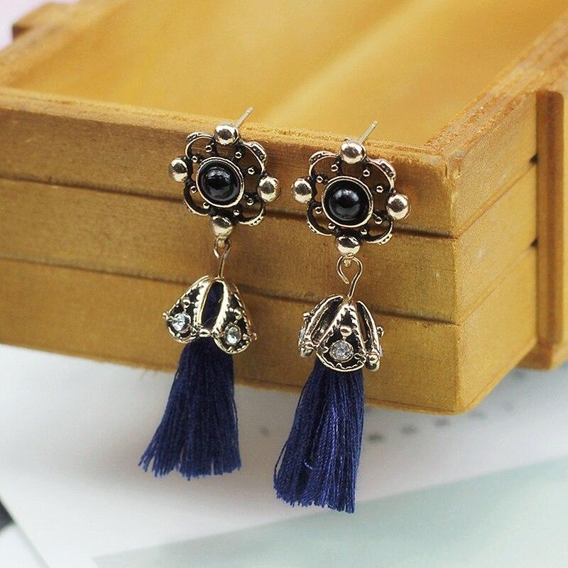 E0243 Fashion Royal Blue Tassel Drop Earrings Vintage Flower Dangle Earrings For Women Party Jewelry Wholesale Birthday Gifts